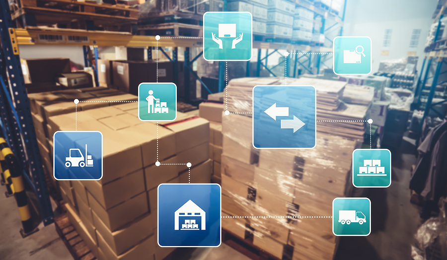 Supply chain and logistics warehouse