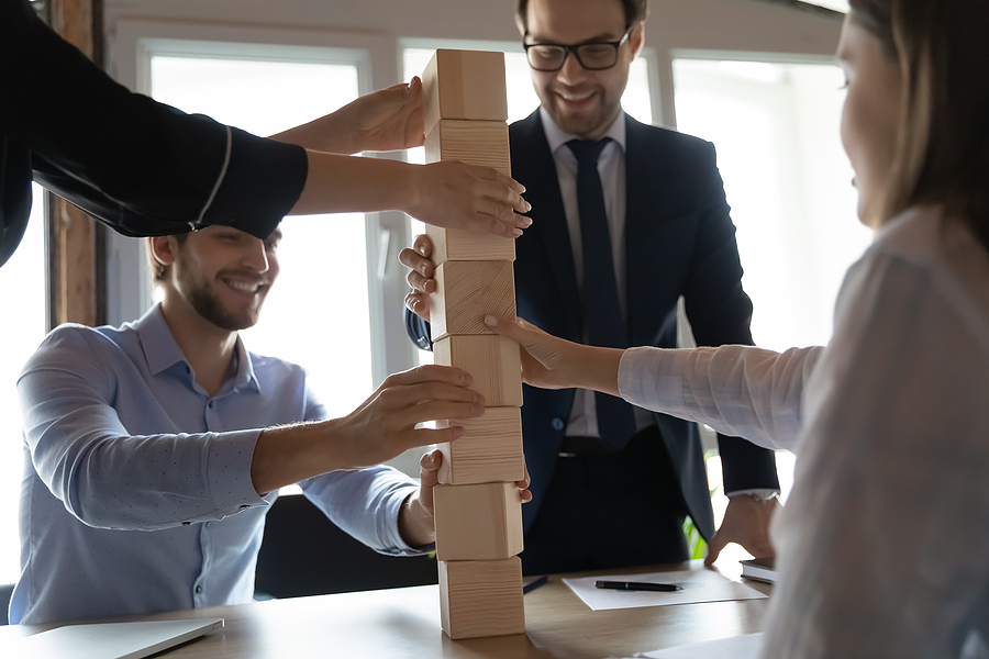 Workers participating in team building events