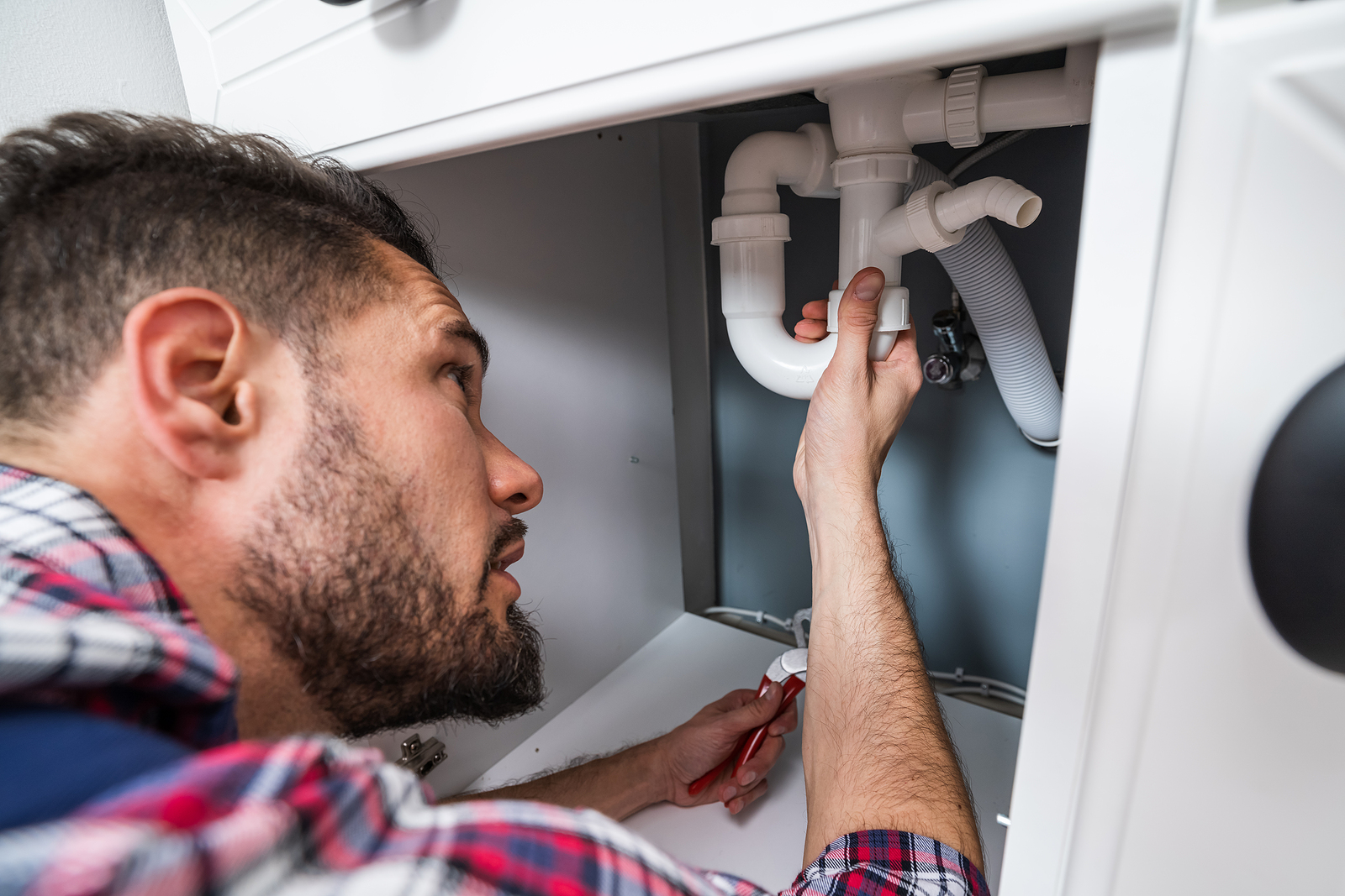 Professional plumber in Wellington fixing a sink pipe